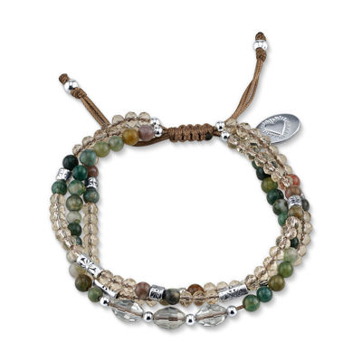 Footnotes Green Silver Tone Beaded Bracelet