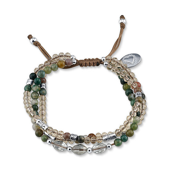 Footnotes Green Bead Beaded Bracelet