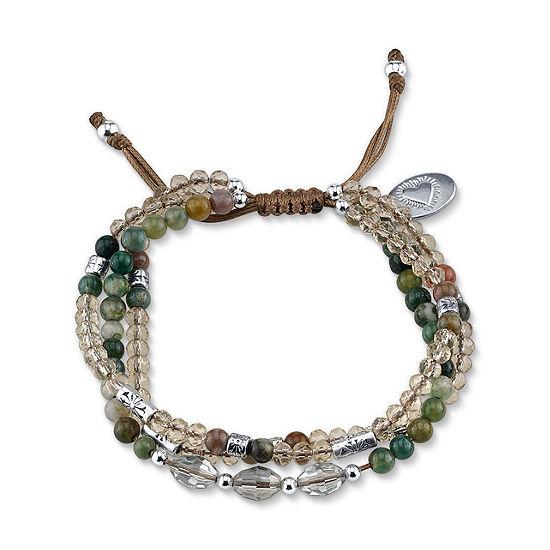 Footnotes Green Beaded Bracelet
