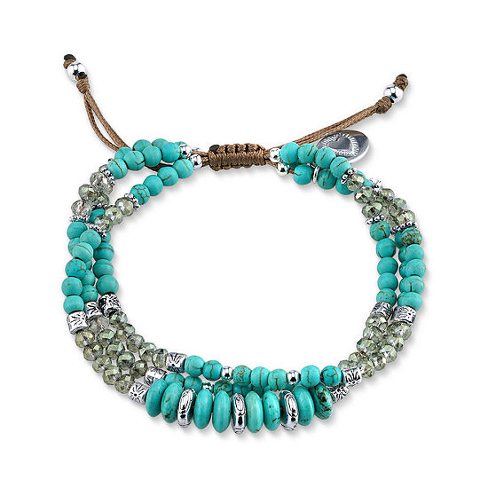 Footnotes Reconstituted Turquoise Beaded Bracelet