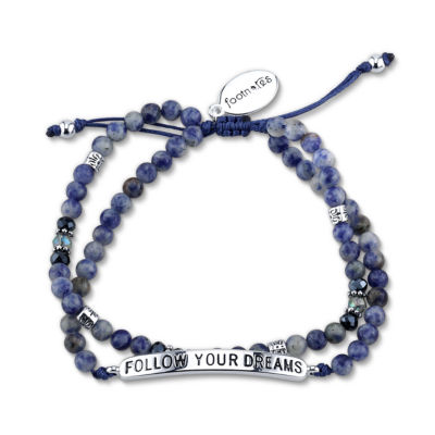 Footnotes Blue Silver Tone Beaded Bracelet