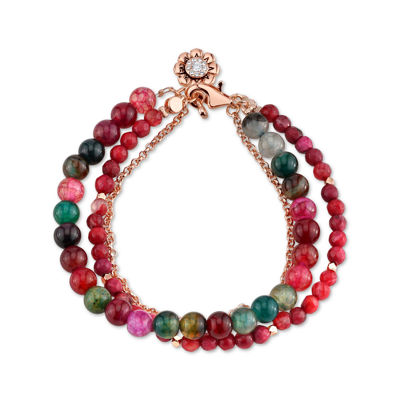 Footnotes Red Rose Tone Beaded Bracelet