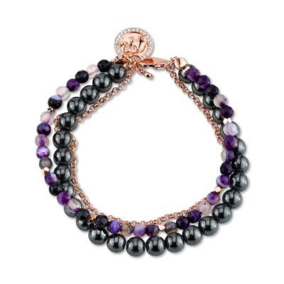 Footnotes Purple Rose Tone Beaded Bracelet