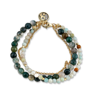 Footnotes Multi Color Gold Tone Beaded Bracelet