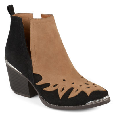 Journee Collection Womens Dotson Bootie Stacked Heel Pull-on