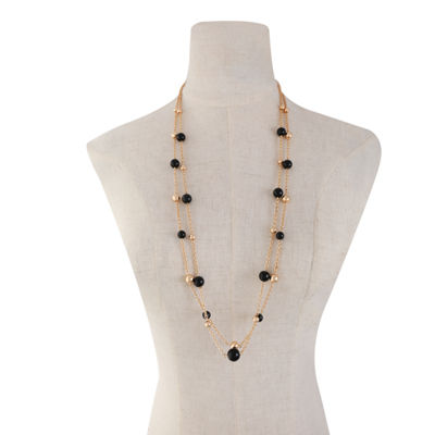 Monet Jewelry Womens Black Strand Necklace