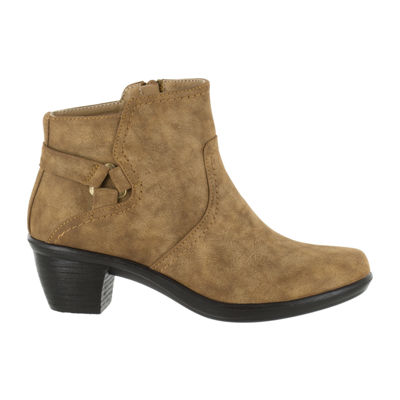 Easy Street Womens Dawnta Booties Block Heel Zip