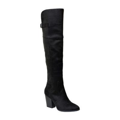 Easy Street Womens Maxwell Over the Knee Boots Block Heel Buckle
