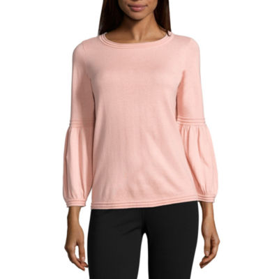 St. John's Bay Long Sleeve Round Neck Pointelle Blouse - Tall