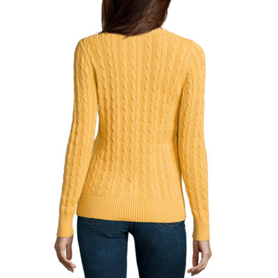 St. John's Bay Cable Crew Sweater - Tall