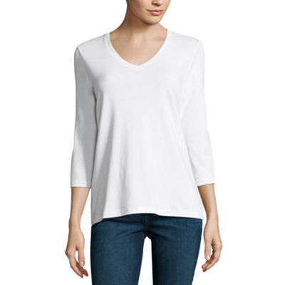 St. John's Bay 3/4 Sleeve V- Neck Tee - Tall