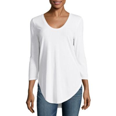 a.n.a 3/4 Sleeve Scoop Neck T-Shirt-Womens Talls