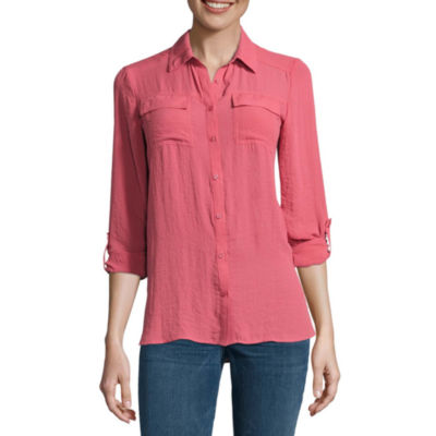 a.n.a 3/4 Sleeve Button-Front Shirt-Talls