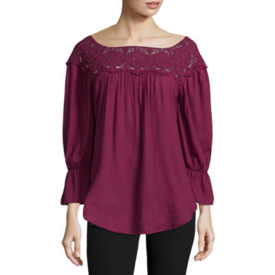 St. John's Bay 3/4 Sleeve Boat Neck Woven Lace Blouse - Tall