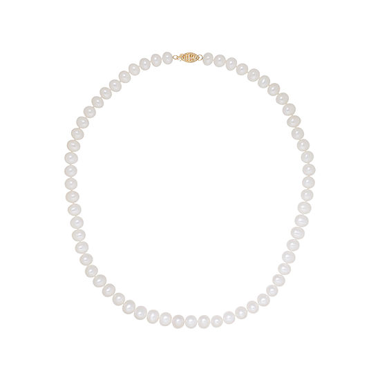 Sofia Certified Cultured Freshwater Pearl 7-7.5mm Strand Necklace in 14K Gold