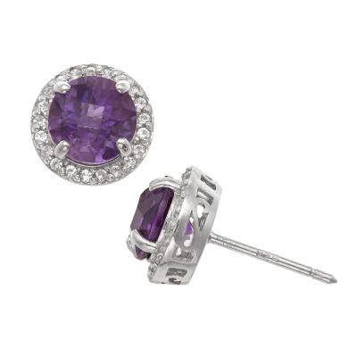 Genuine Purple Amethyst Sterling Silver 10mm Stud Earrings