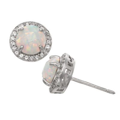 Lab Created White Opal Sterling Silver 10mm Stud Earrings