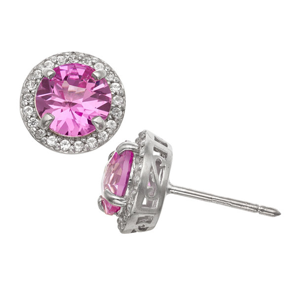 Round Pink Sapphire Sterling Silver Stud Earrings