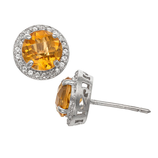 Genuine Yellow Citrine Sterling Silver 10mm Stud Earrings