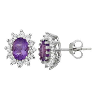 Genuine Purple Amethyst Sterling Silver 12.2mm Stud Earrings