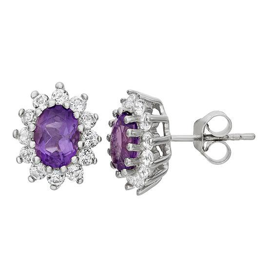 Genuine Purple Amethyst Sterling Silver 12.2mm Stud Earrings