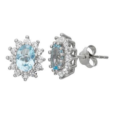 Genuine Blue Blue Topaz Sterling Silver 12.2mm Stud Earrings