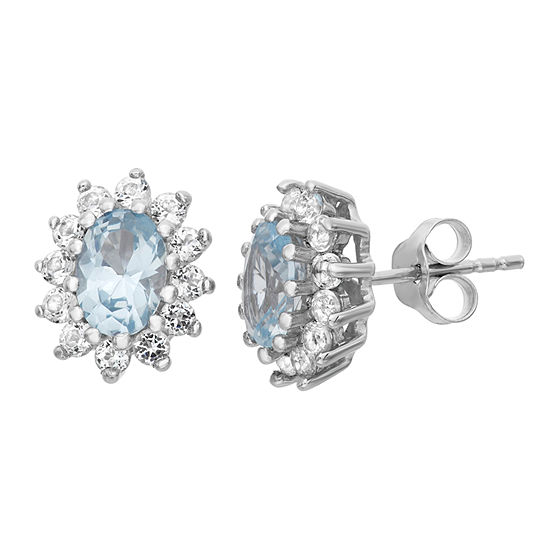 Lab Created Blue Aquamarine Sterling Silver 12.2mm Stud Earrings