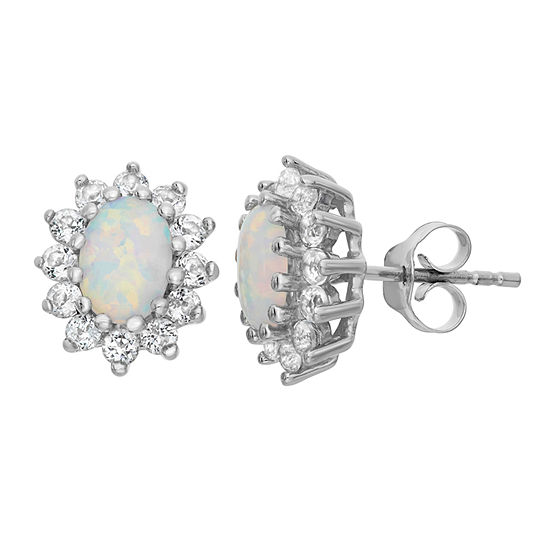 Lab Created White Opal Sterling Silver 12.2mm Stud Earrings