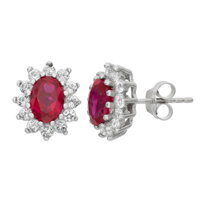 Lab Created Red Ruby Sterling Silver 12.2mm Stud Earrings