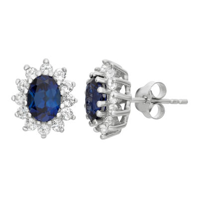 Lab Created Blue Sapphire 12.2mm Stud Earrings