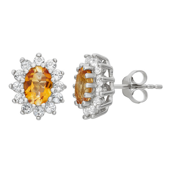 Oval Yellow Citrine Sterling Silver Stud Earrings