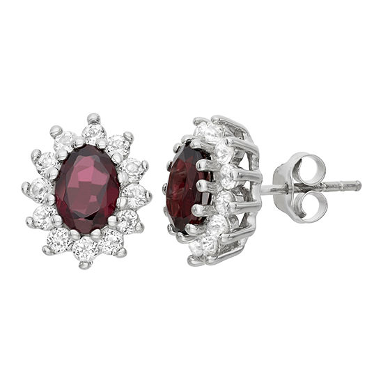 Genuine Red Garnet Sterling Silver 12.2mm Stud Earrings