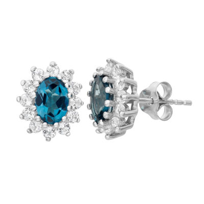 Genuine Blue Blue Topaz Sterling Silver 12.2mm Stud Earrings
