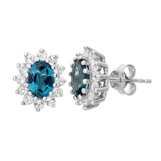 Genuine Blue Topaz Sterling Silver 12.2mm Stud Earrings