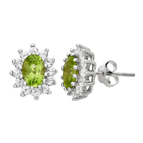 Genuine Green Peridot Sterling Silver 12.2mm Stud Earrings