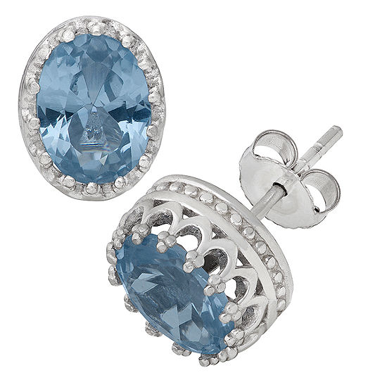 Lab Created Blue Aquamarine Sterling Silver 10mm Stud Earrings
