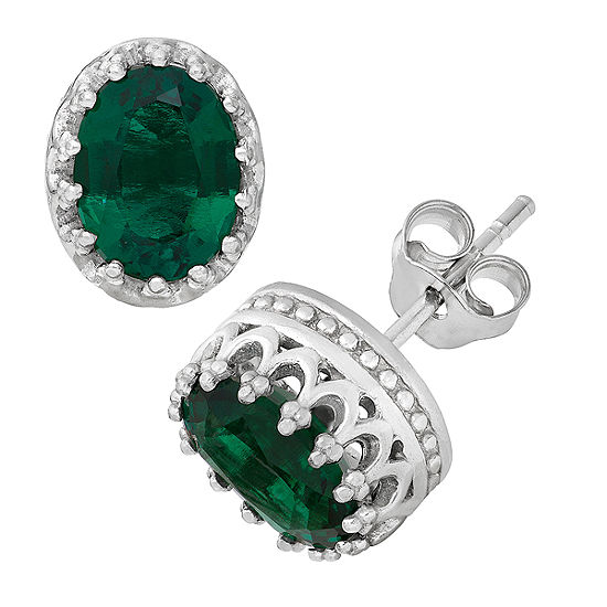 Lab Created Green Emerald Sterling Silver 10mm Stud Earrings