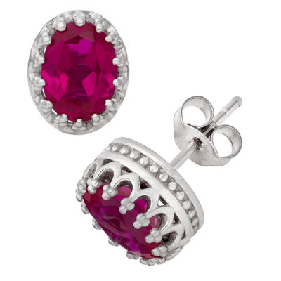 Lab Created Red Ruby Sterling Silver 10mm Stud Earrings