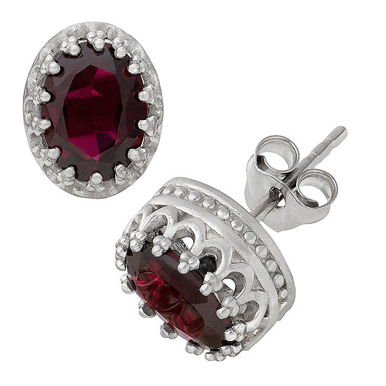 Genuines Red Garnet Sterling Silver 10mm Stud Earrings