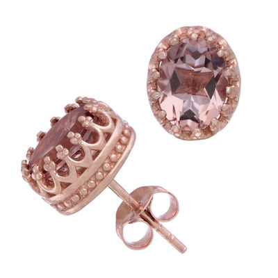 Simulated Pink Quartz 14K Gold Over Silver 10mm Stud Earrings