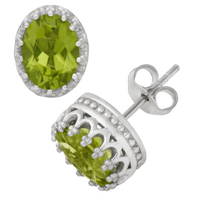 Oval Green Peridot Sterling Silver Stud Earrings