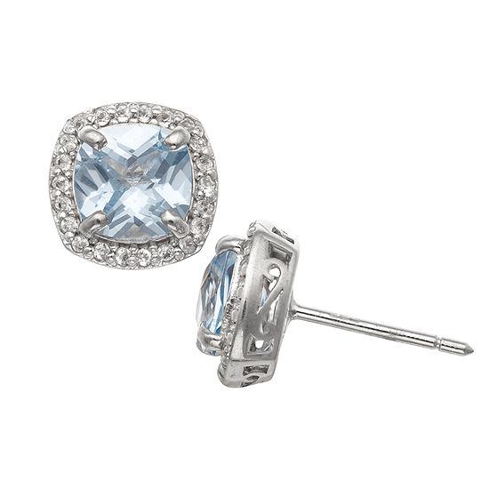 Lab Created Blue Aquamarine Sterling Silver 10mm Stud Earrings