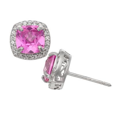 Cushion Pink Sapphire Sterling Silver Stud Earrings