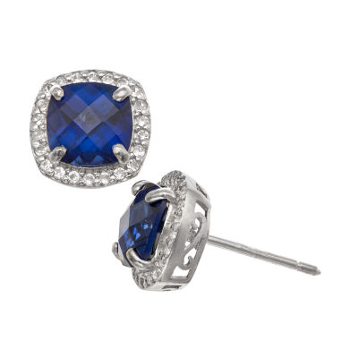 Lab Created Blue Sapphire Sterling Silver 10mm Stud Earrings
