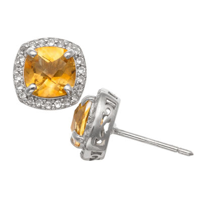 Genuine Yellow Citrine Sterling Silver 10mm Stud Earrings