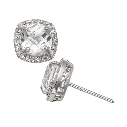 Cushion White Sapphire Sterling Silver Stud Earrings