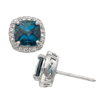 Genuine Blue Blue Topaz Sterling Silver 10mm Stud Earrings