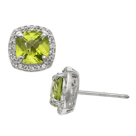 Genuine Green Peridot Sterling Silver 10mm Stud Earrings