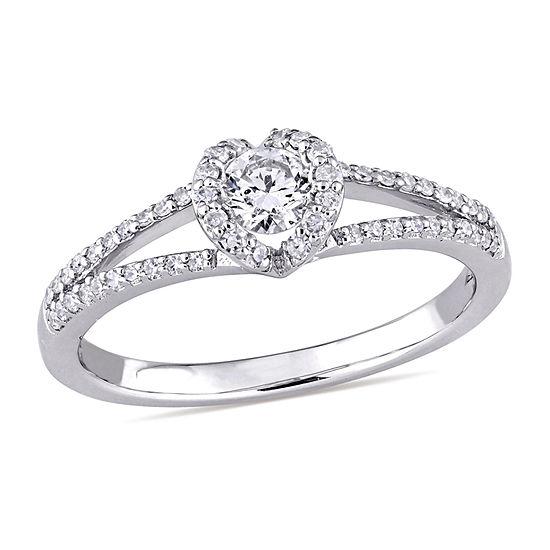 Womens 3/8 CT. T.W. Genuine White Diamond 14K Gold Engagement Ring