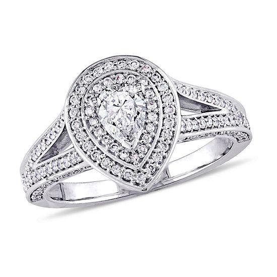 Womens 1 CT. T.W. Genuine White Diamond 14K Gold Engagement Ring